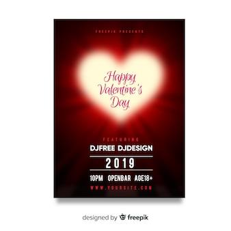 Poster fiesta día de san valentín corazón brillante
