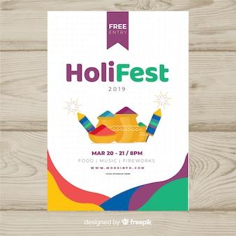 Póster fiesta elementos festival holi