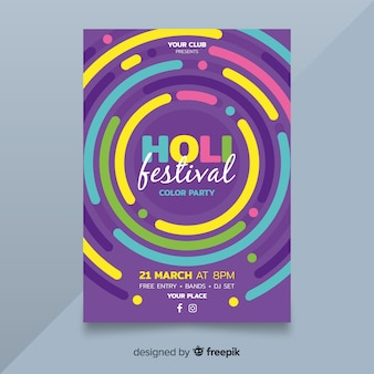 Póster fiesta festival holi círulos