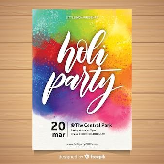 Poster fiesta festival holi colorido