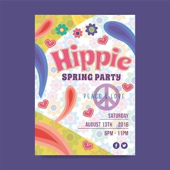 Poster de fiesta hippie de primavera