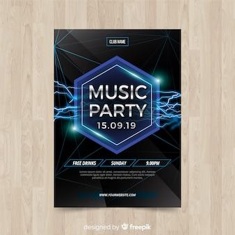 Póster fiesta de música formas geométricas