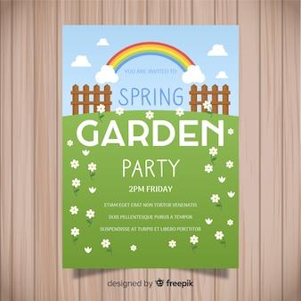 Póster fiesta primavera campo plano