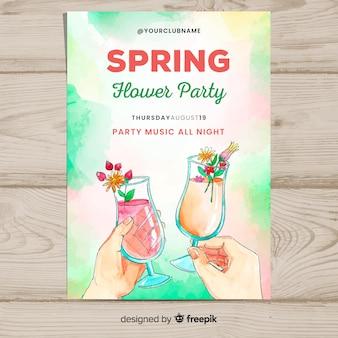 Póster fiesta primavera cóctel acuarela