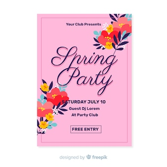 Póster fiesta primavera esquinas florales