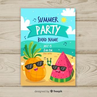 Póster fiesta de verano dibujado a mano