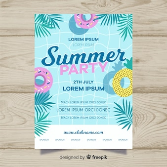 Póster fiesta de verano piscina plana