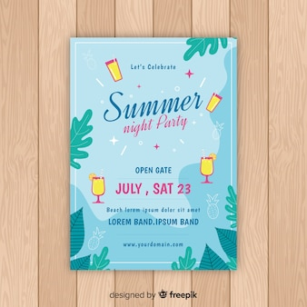 Póster fiesta de verano plano