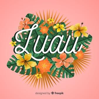 Poster floral de luau hawaiano