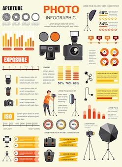 Póster fotográfico con plantilla de elementos infográficos en estilo plano