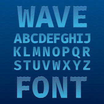 Póster de fuente wave original con alfabeto en azul como ilustración del mar