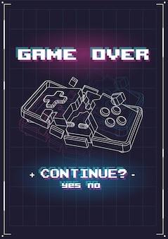 Póster de game over con elementos lowpoly.