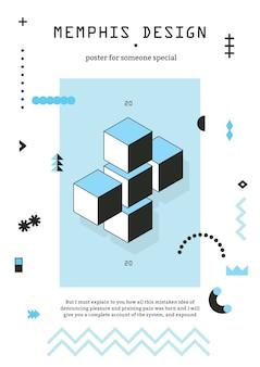 Póster geométrico de estilo de memphis con cubos de chevron, líneas estampadas, asteriscos en azul negro