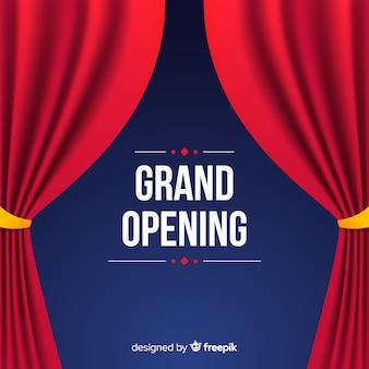 Poster de gran inauguración con cortinas