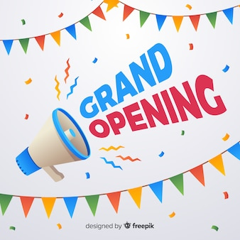 Poster de gran inauguración con megáfono