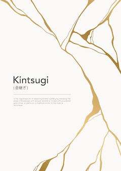 Póster grieta de kintsugi de oro