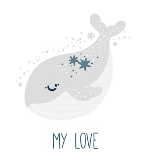Póster de guardería con linda ballena y estrellas sobre fondo blanco animal print my love kids