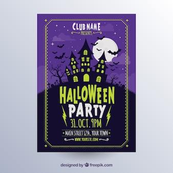 Póster de halloween con casa terrorífica