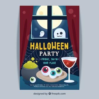 Póster de halloween con cocina de bruja