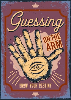 Póster con ilustración de adivinar en el brazo
