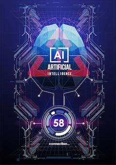 Póster de inteligencia artificial en estilo futurista.
