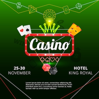 Póster de invitación al hotel king royal casino.