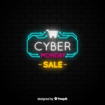 Poster de ladrillos de cyber monday con luces de neón