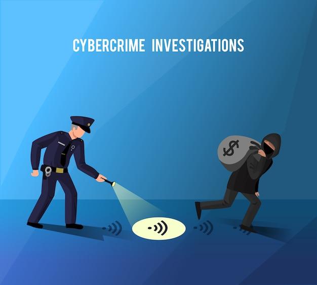 Póster llano de investigación de prevención de delitos informáticos de piratas cibernéticos