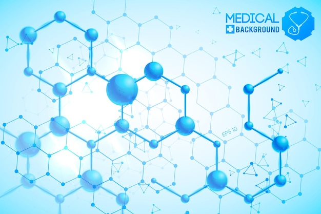 Póster médico con estructura química atómica y molecular original naranja