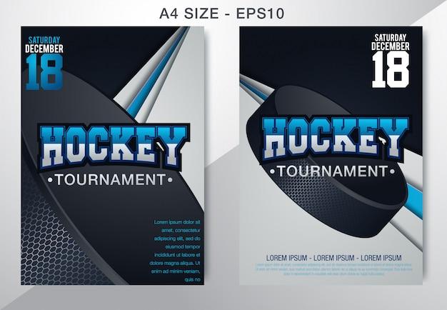 Póster moderno del campeonato de hockey sobre hielo con el puck en el hielo.