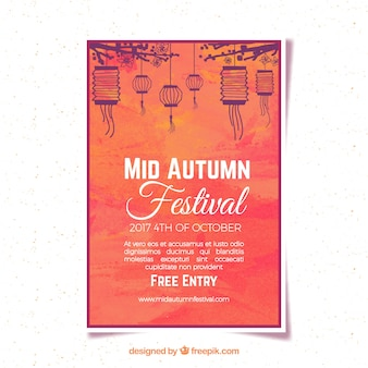 Póster moderno para el festival de medio otoño