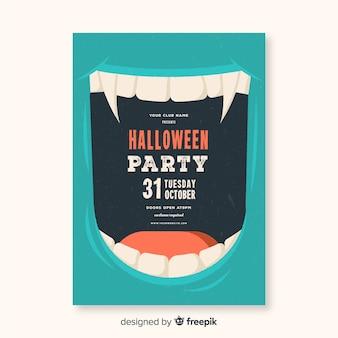 Póster moderno de fiesta de halloween con diseño plano