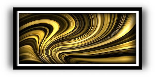 Póster moderno con paletas de colores dorados vibrantes y fondo de forma líquida de onda