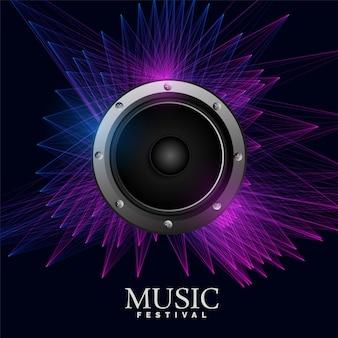 Póster de música electro con altavoz y líneas abstractas.