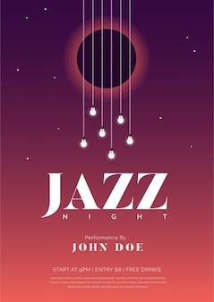 Póster de música de noche de jazz con cuerdas de guitarra y bulbos.