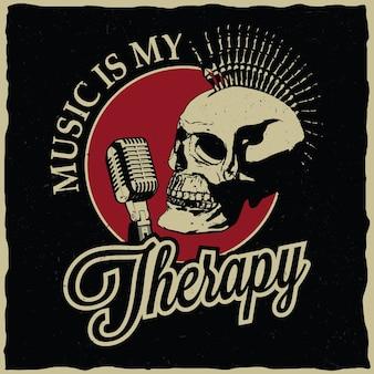 Póster de música rock con diseño de etiqueta de terapia para camisetas y tarjetas de felicitación.