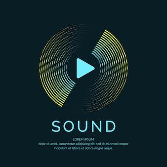 Póster de la onda sonora. música de ilustración vectorial sobre fondo oscuro.