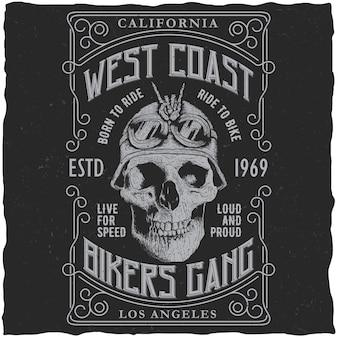 Póster pandilla de ciclistas de la costa oeste