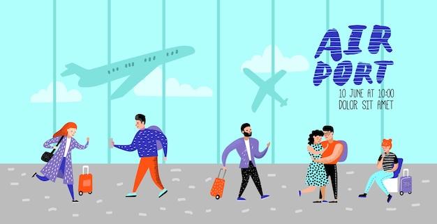 Póster personas que viajan en avión