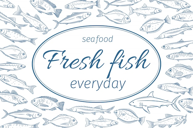 Póster pescado dibujado a mano