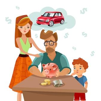 Póster plano del plan de finanzas del presupuesto familiar