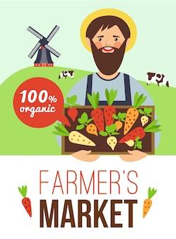 Póster plano de productos orgánicos del mercado de agricultores