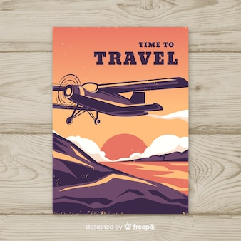 Póster plano de viaje vintage