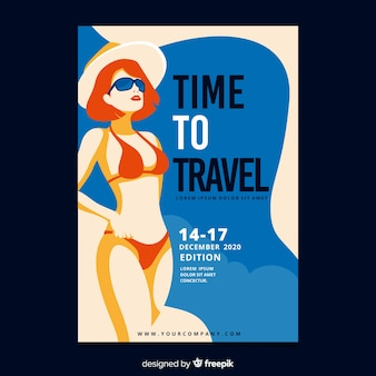 Poster plano vintage de viaje