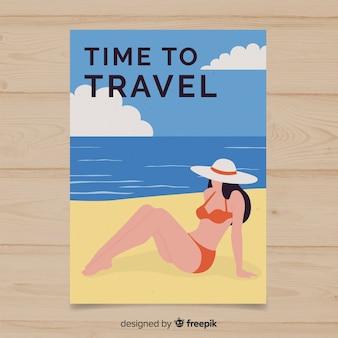 Póster plano vintage de viajes