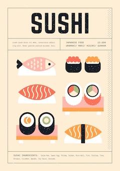 Póster de plantilla de impresión geométrica de varios sushi
