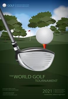 Póster plantilla de póster de campeón de golf