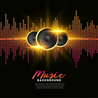 Póster de portada de álbum de altavoces de música.