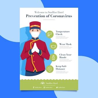 Póster de prevención de coronavirus para hoteles