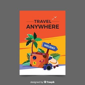 Póster promocional vintage de viaje en diseño plano
